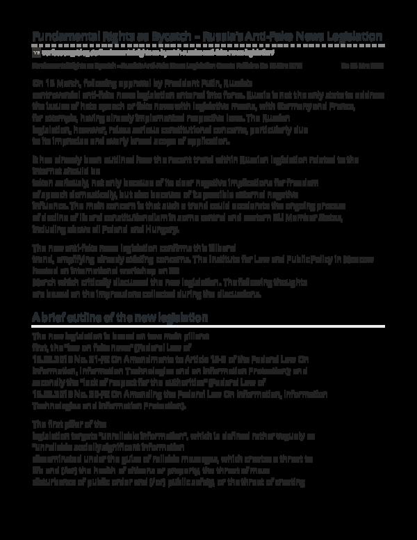 PDF) Fundamental Rights as Bycatch Russias Anti Fake News