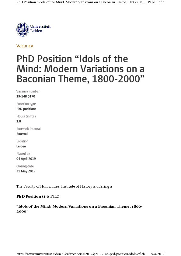 "PDF) Reminder: PhD Position Leiden University: ""Idols of the"