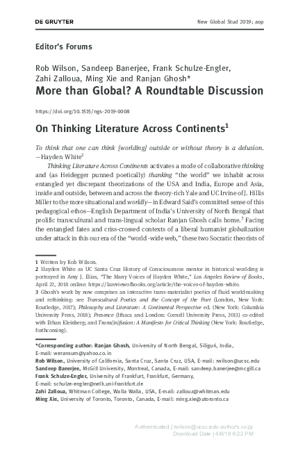 PDF) Editor's Forums: More than Global? A Roundtable