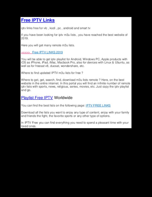 DOC) Free IPTV Links m3u Playlist iptv Wordlwide iptv 2019 | Listas