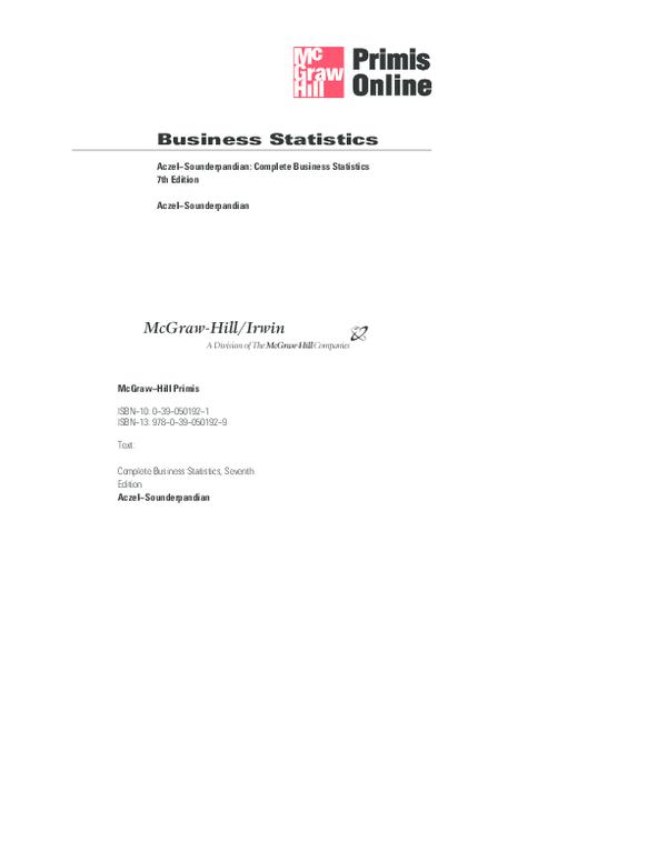 PDF) Business Statistics Complete Business Statistics, Seventh