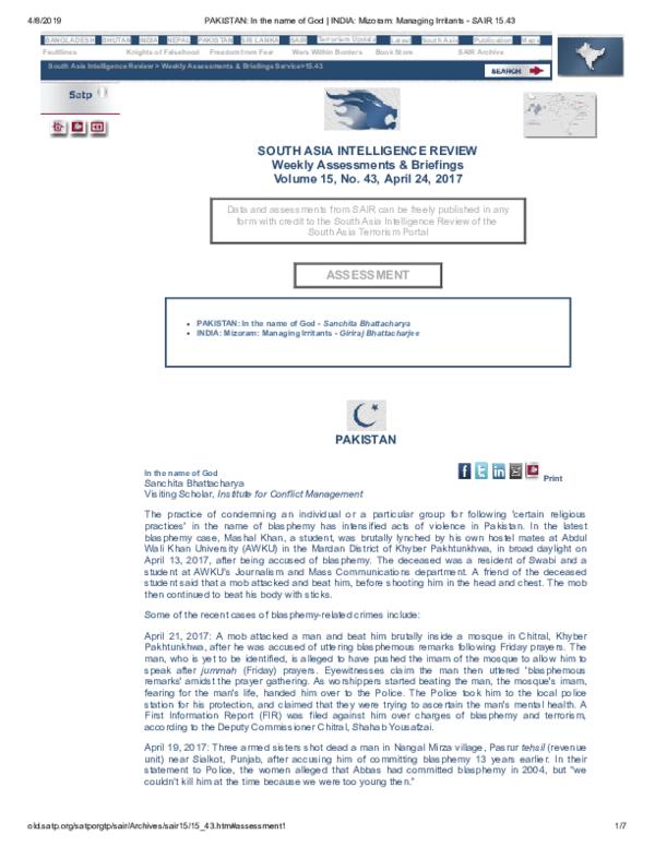 PDF) PAKISTAN: In the name of God | Sanchita Bhattacharya