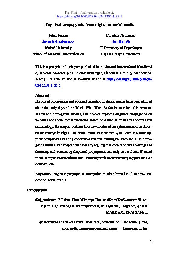 PDF) Disguised Propaganda from Digital to Social Media