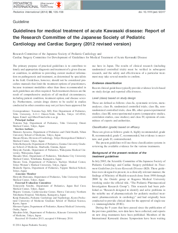 PDF) Guidelines for medical treatment of acute Kawasaki