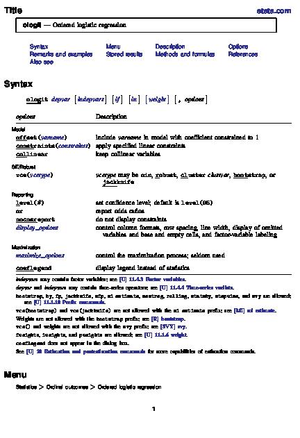 PDF) Title stata com ologit -Ordered logistic regression