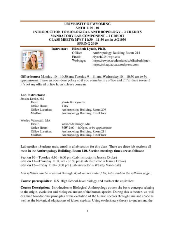 PDF) Introduction to Biological Anthropology Syllabus Spring 2019