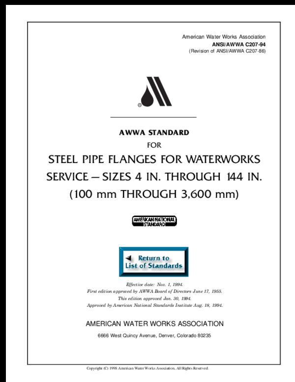 PDF) American Water Works Association ANSI/AWWA C207-94 AWWA