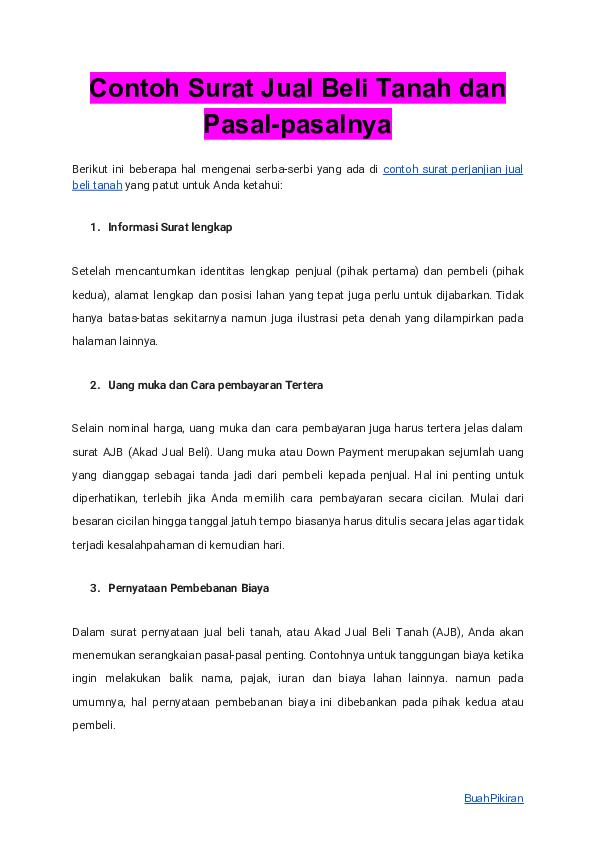 Pdf Contoh Surat Jual Beli Tanah Dan Pasal Pasalnya