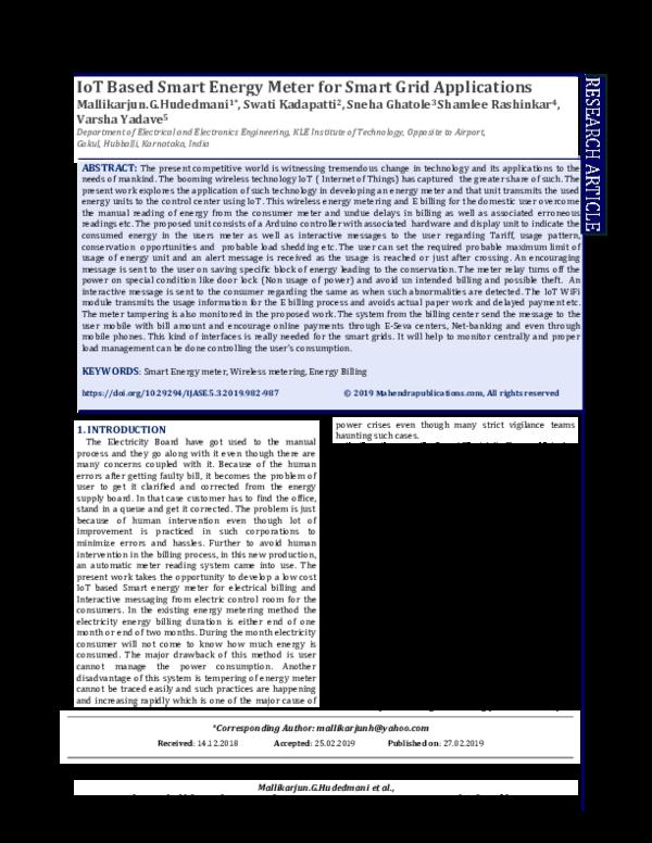 Pdf Iot Based Smart Energy Meter For Smart Grid Applications International Journal Of Advanced Science And Engineering Ijase Academia Edu