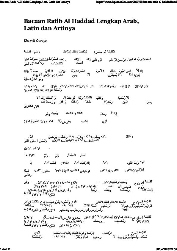 Pdf Bacaan Ratib Al Haddad Lengkap Arab Latin Dan Artinya