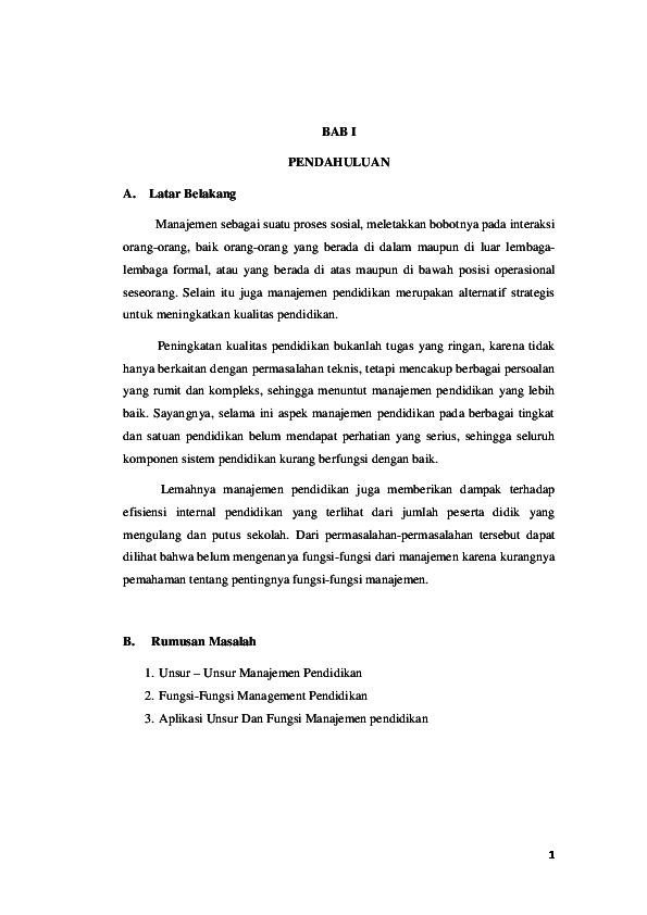 Doc Unsur Dan Fungsi Manajemen Pendidikan Nurul Fadilah Academia Edu