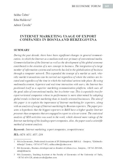 PDF) Internet marketing usage of export companies in Bosnia