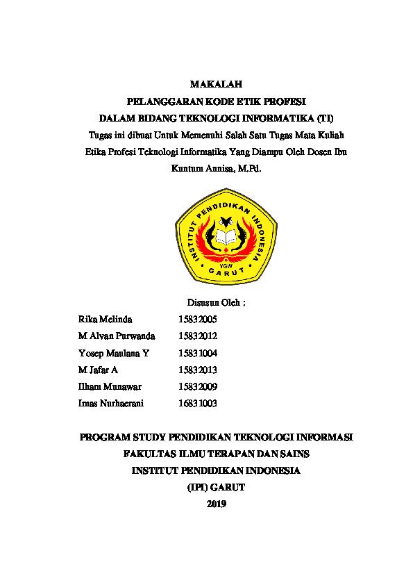 Pdf Makalah Etika Profesi Kelompok 5 Alfi Nur Latifah Academia Edu