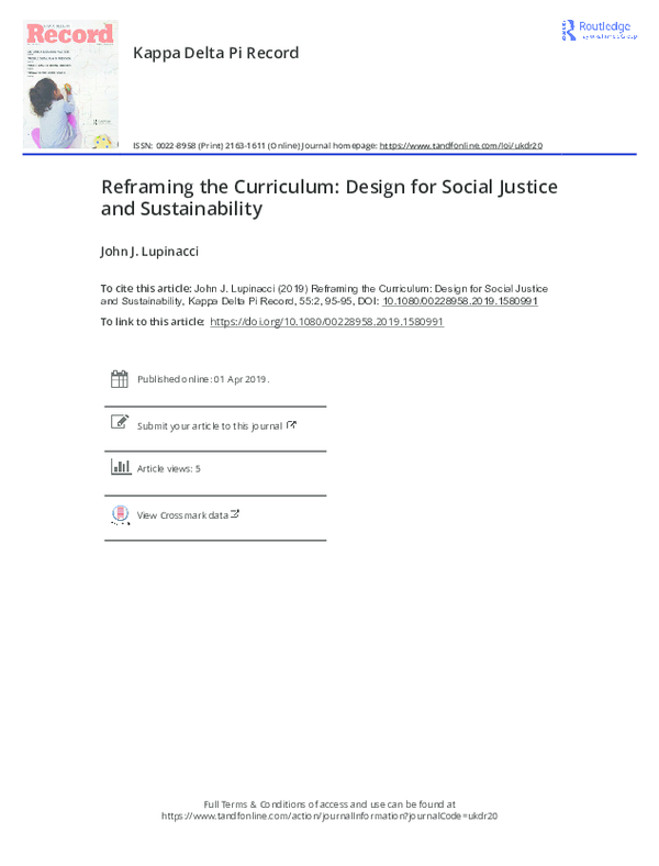 Pdf Kappa Delta Pi Record Review Reframing The Curriculum Design For Social Justice And Sustainability John Lupinacci Academia Edu