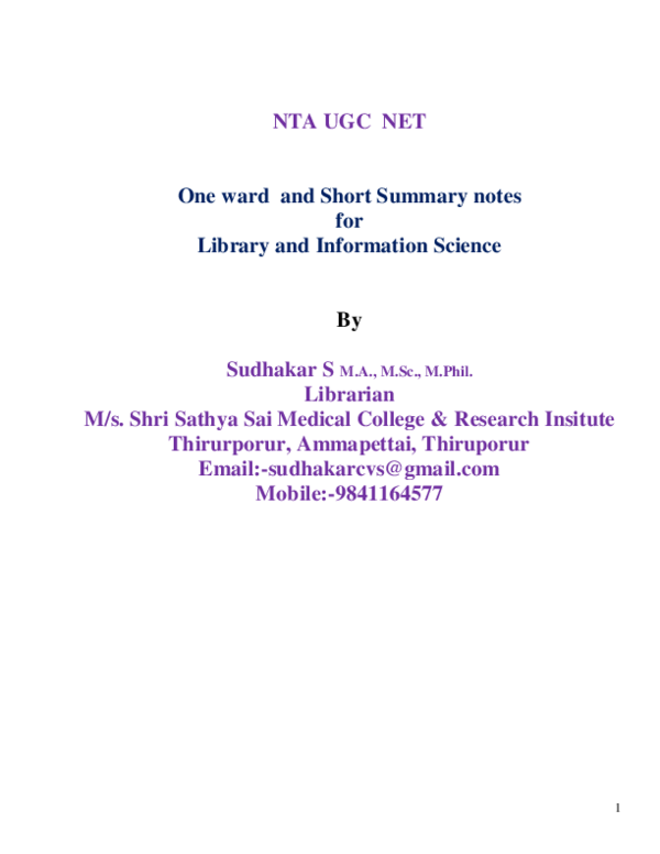 PDF) NTA UGC NET One ward and Short Summary notes for