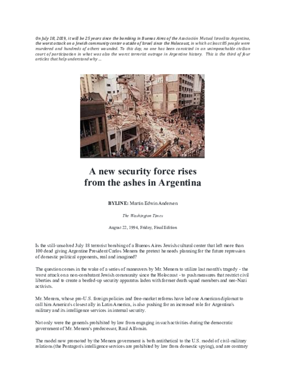 PDF) A new security force rises from the ashes in Argentina