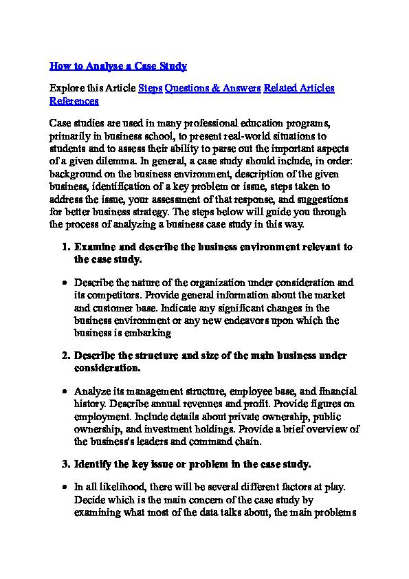 Analyse Case Study