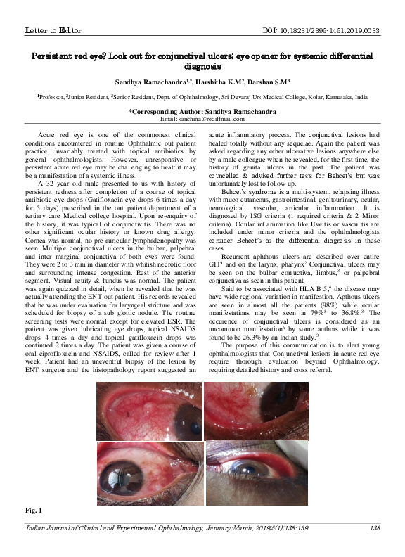 PDF) Persistant red eye? Look out for conjunctival ulcers