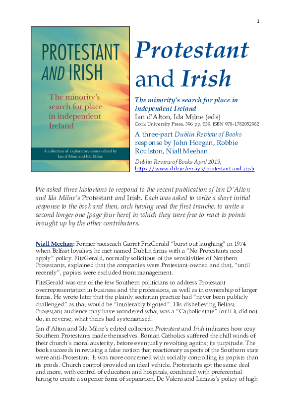 PDF) Protestant and Irish, a three-part Dublin Review of