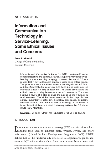 PDF) Information and Communication Technology in Service-Learning