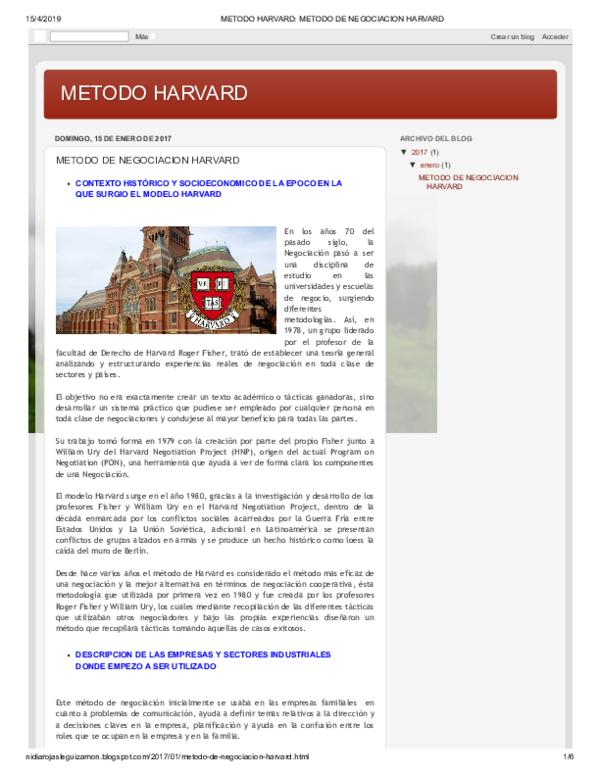 Pdf Metodo Harvard Metodo De Negociacion Harvard Carlos