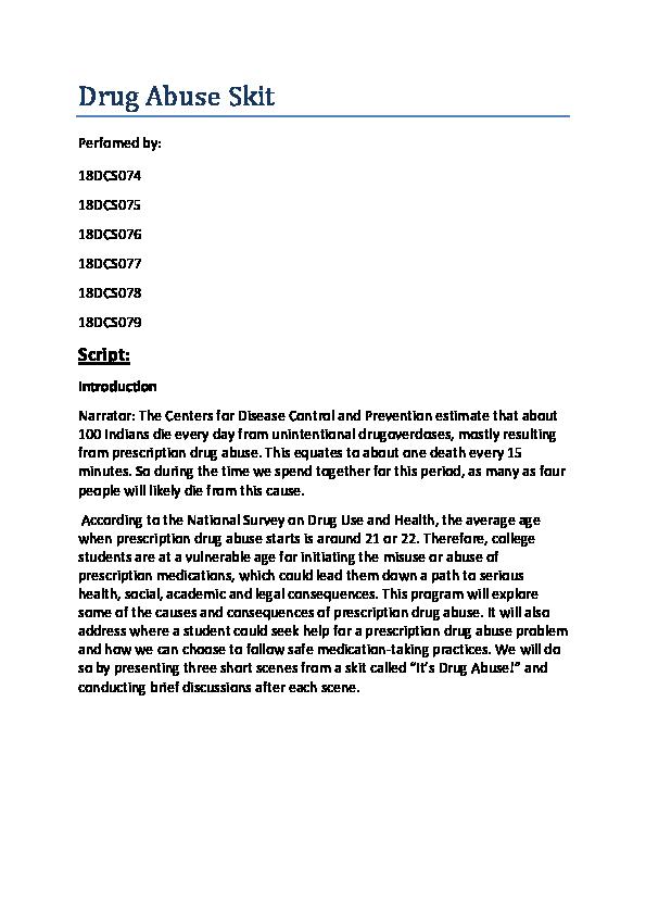 PDF) Drug Abuse Skit Script | MANN PATEL - Academia edu