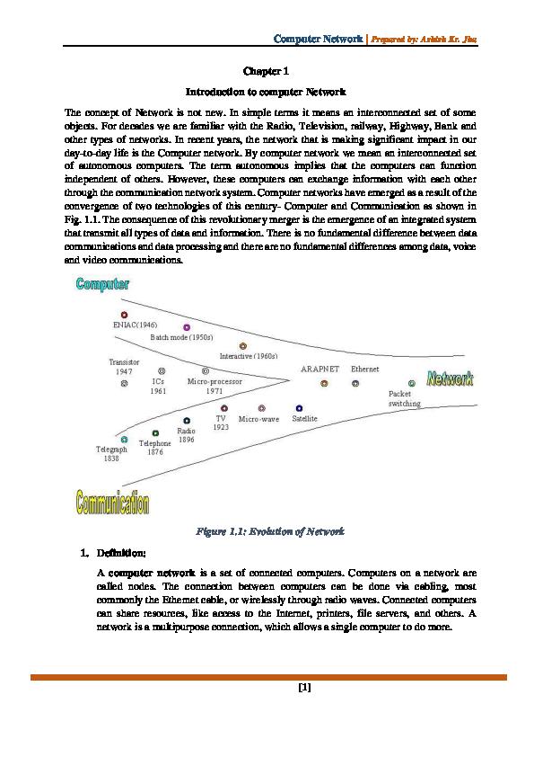 PDF) Chapter 1 Introduction to computer Network | Ashish Kumar Jha