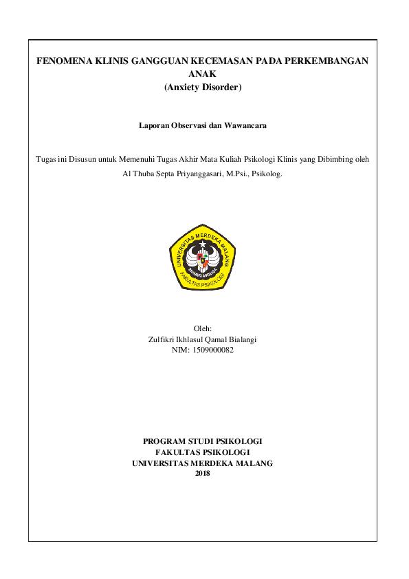 Doc Psikologi Klinis Fikri Bialangi Academia Edu