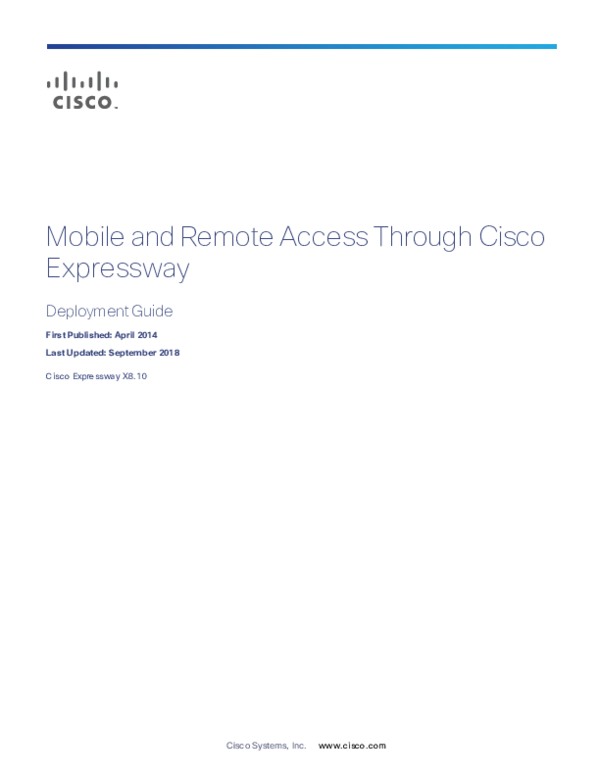 PDF) Mobile and Remote Access Through Cisco Expressway Deployment