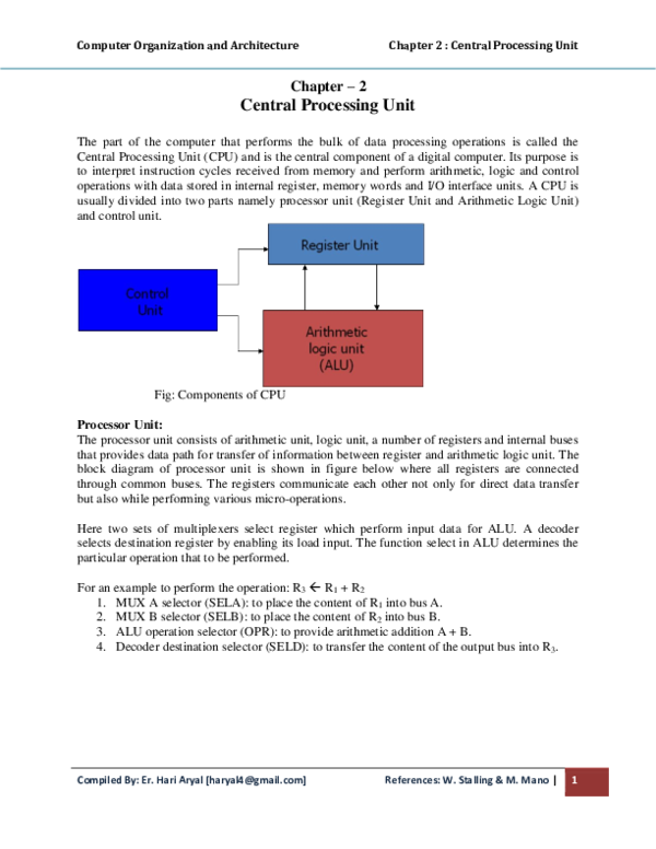 PDF) Computer Organization and Architecture Chapter 2