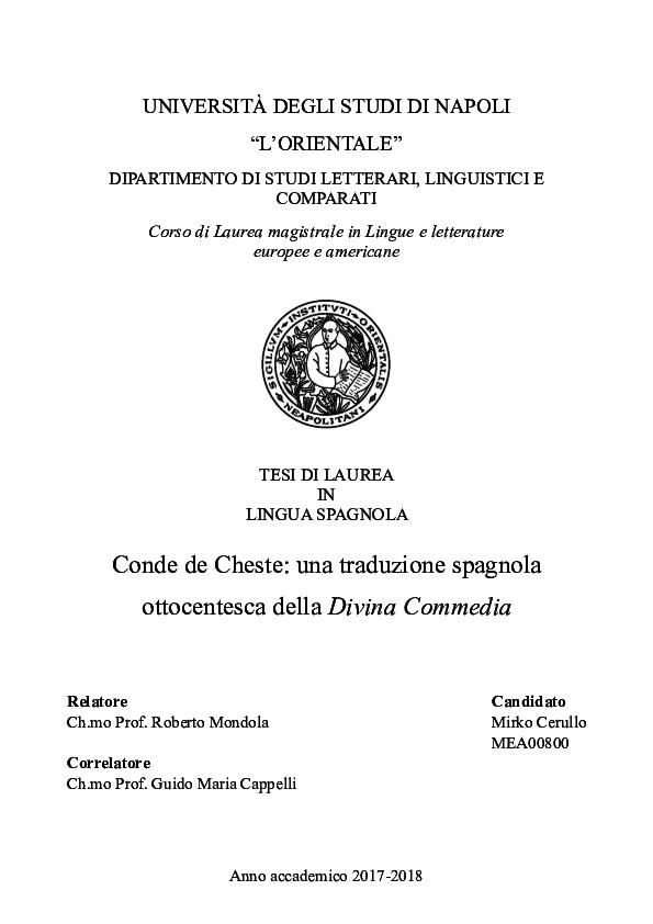 Pdf Conde De Cheste Una Traduzione Spagnola Ottocentesca