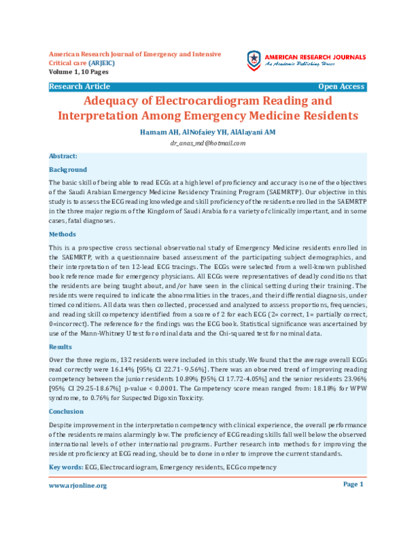PDF) Adequacy of Electrocardiogram Reading and