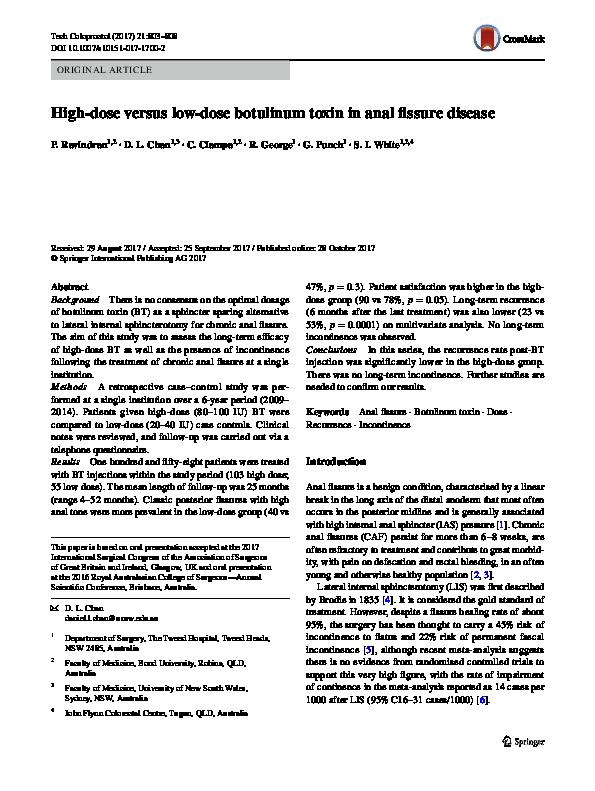 PDF) High‑dose versus low‑dose botulinum toxin in anal