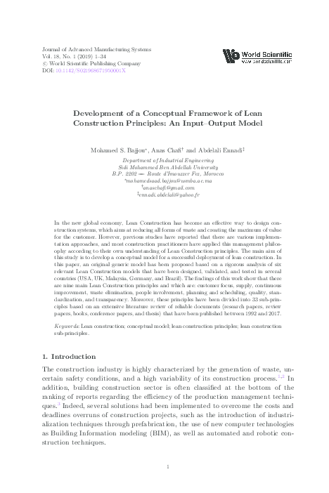 PDF) Development of a Conceptual Framework of Lean Construction