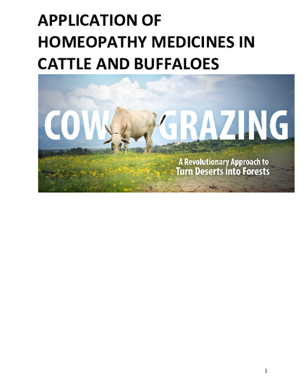 PDF) APPLICATION OF HOMEOPATHY MEDICINES IN CATTLE AND