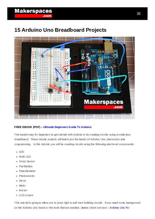 PDF) Arduino Uno Breadboard Projects | واثق ابريهي