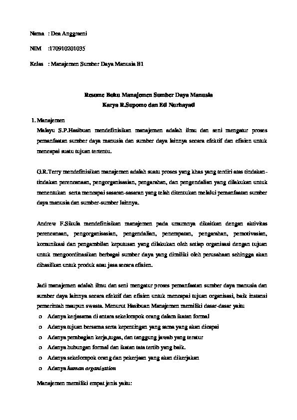 Doc Resume Buku Manajemen Sumber Daya Manusia Karya R Supomo Dan Eti Nurhayati Resume Human Resource Management Karya Manmohan Joshi Dea Anggraeni Academia Edu