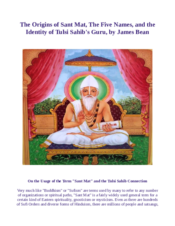 PDF) The Origins of Sant Mat, The Five Names, and the
