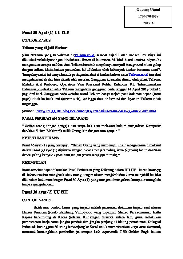 Doc Pasal 30 Ayat Uu Ite Gayung Utami18 Academia Edu