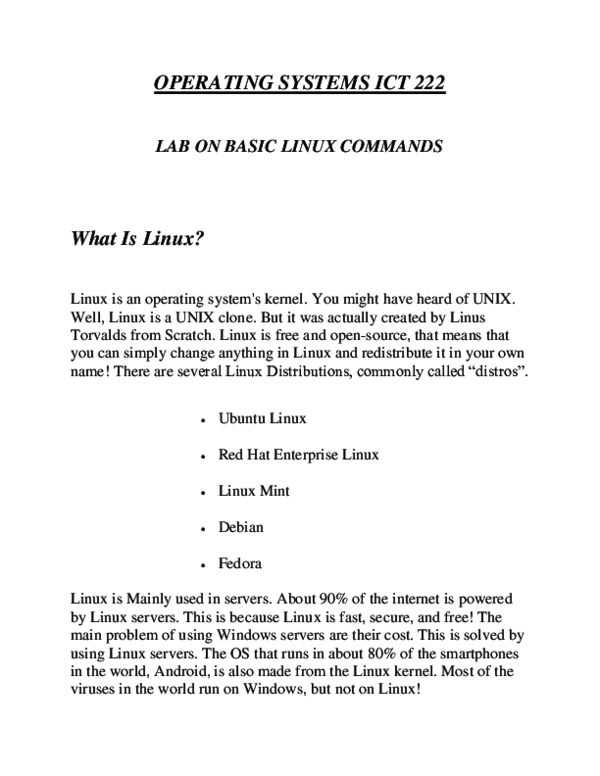 PDF) OPERATING SYSTEMS ICT 222 LAB ON BASIC LINUX COMMANDS