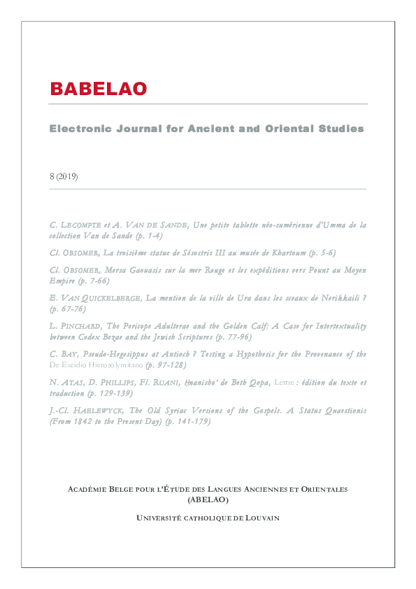 PDF) Electronic Journal for Ancient and Oriental Studies (Babelao ...