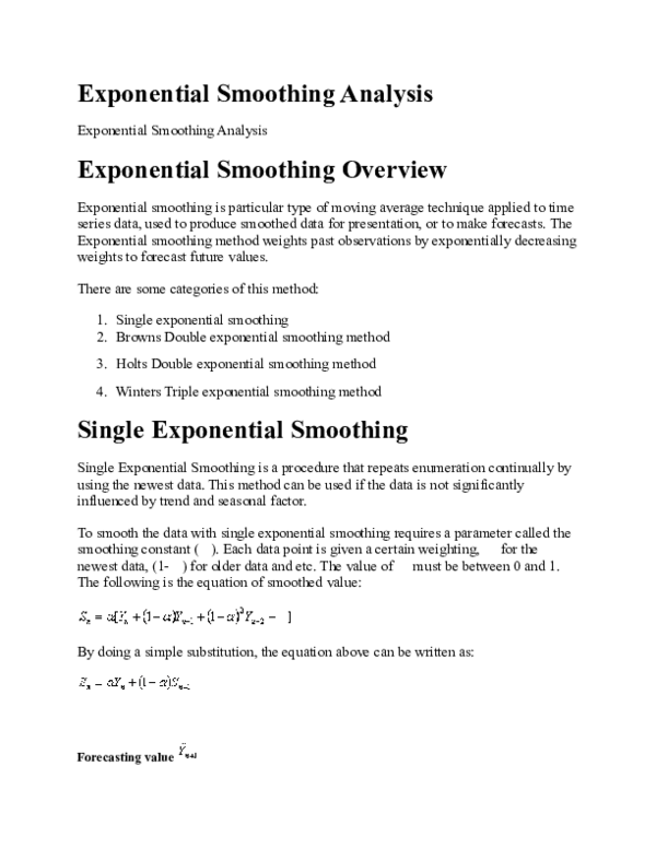 DOC) Exponential Smoothing Analysis | Hippoo Store