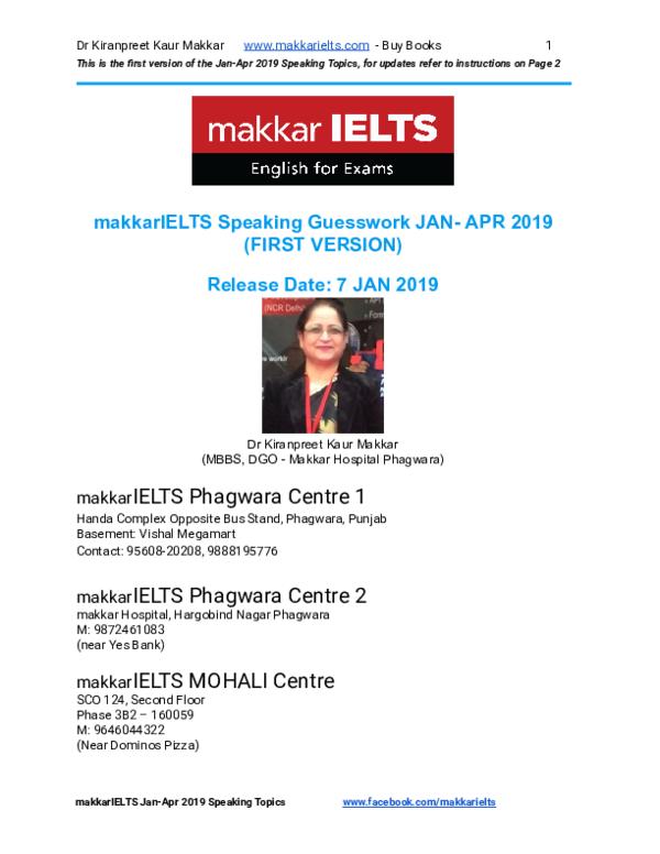 PDF) MakkarIELTS Speaking Jan-Apr 2019 (1)   Love preet