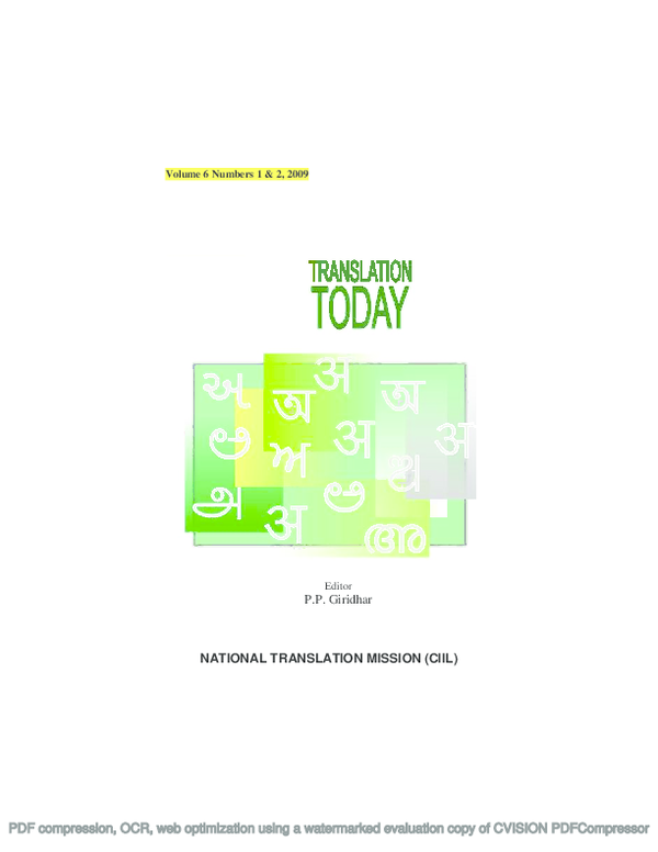 PDF) Translation Today Vol  6, Issue  1 & 2, | Translation Today