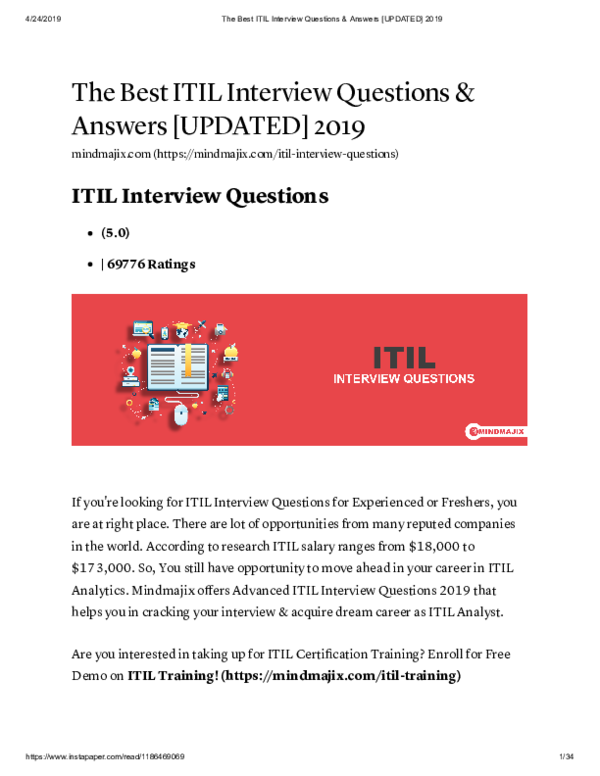 PDF) The Best ITIL Interview Questions & Answers [UPDATED
