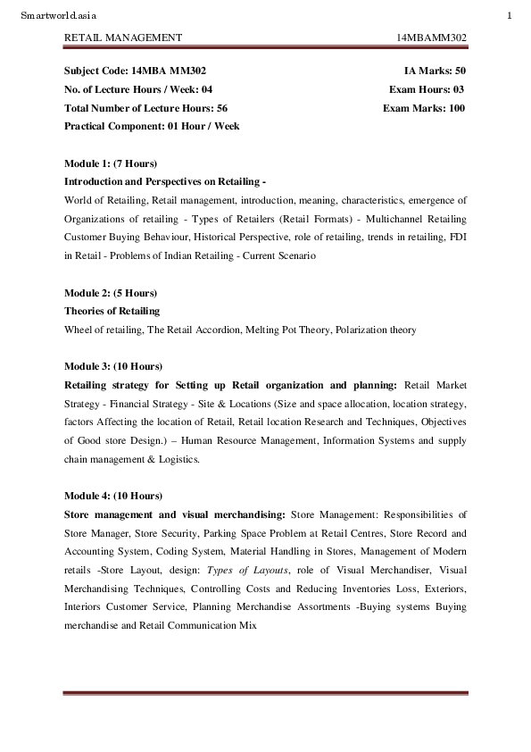 PDF) MBA III RETAIL MANAGEMENT NOTES | Chinimilli Srinivas