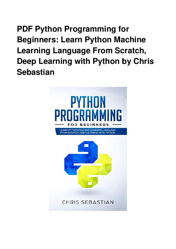 PDF) Pdf Python Programming For Beginners Learn Python