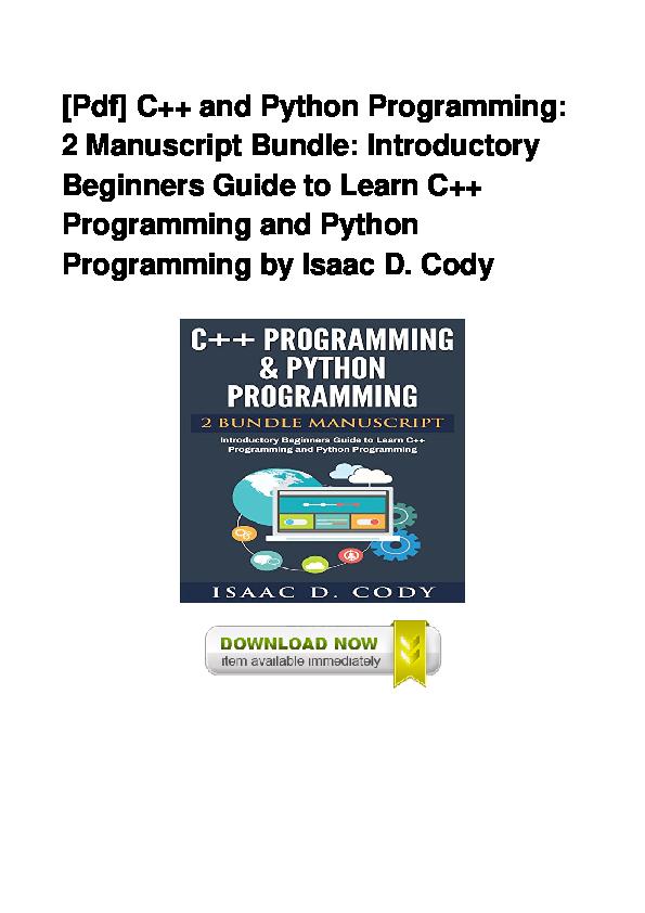 PDF) PDF C And Python Programming 2 Manuscript Bundle Introductory