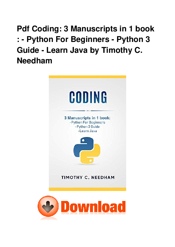 PDF) Pdf Coding 3 Manuscripts In 1 Book Python For Beginners Python