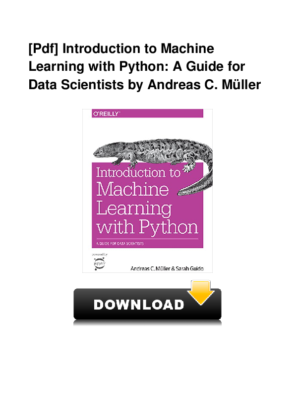 PDF) PDF Introduction To Machine Learning With Python A